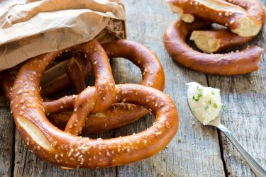 salted soft pretzel to celebrate national pretzel day