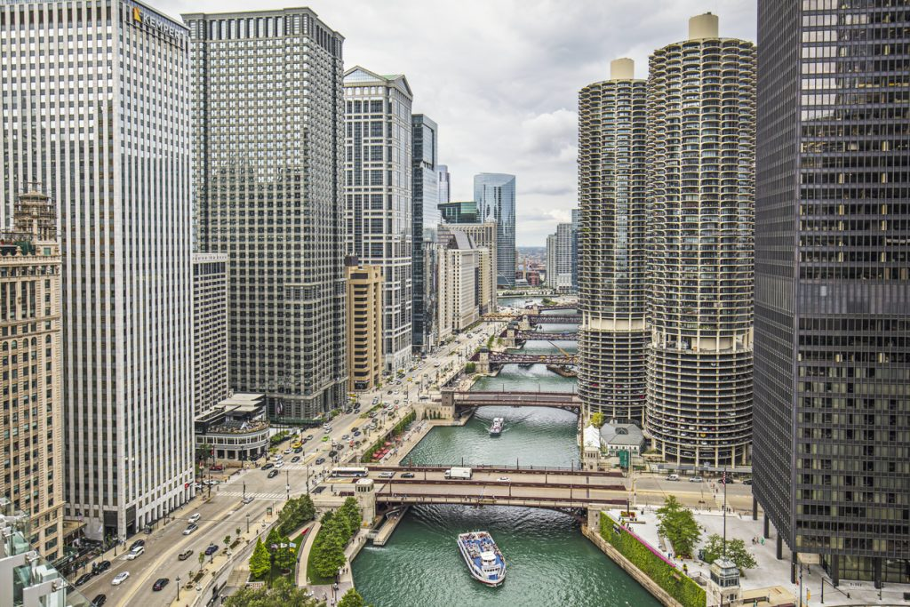 aerial view of architecture around Chicago