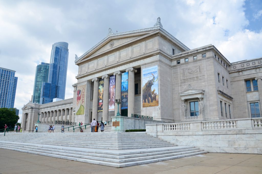 Chicago, IL, USA - August 15, 2015: Chicago's Field Museum of Natural History, shown on August 15, 2015, has a collection of over 24 million specimens, and hosts over 2 million visitors a year and free museum admission for residents on certain days.