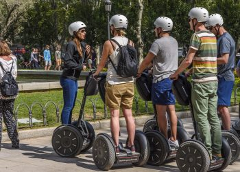 A group of tourists on a Chicago Segway tour