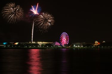 4th of July in Chicago - Fireworks over Navy Pier and Lake Michigan.