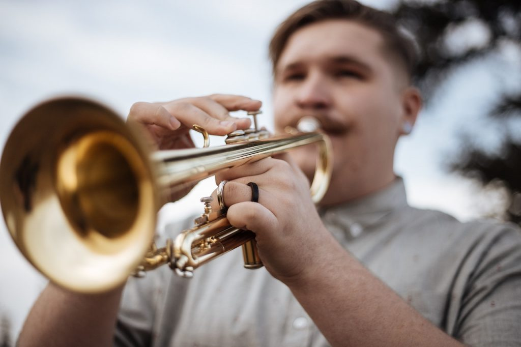 Live music: Trumpet player at an outdoor jazz concert