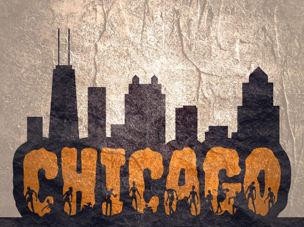 Chicago city name and zombie silhouettes on them. Halloween in Chicago theme sticker. Building silhouettes
