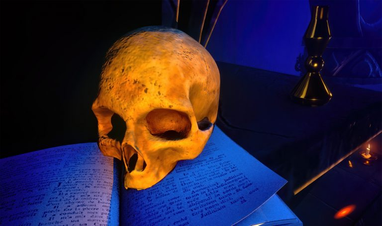 Human skull on old open book in an escape room